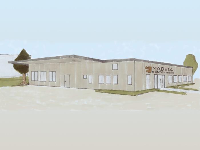 Neues Firmengebäude Madeia Steinmetzbetrieb, ab 2021