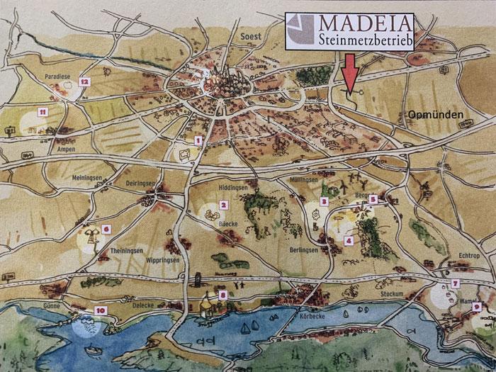 Ab 2021: Madeia Steinmetzbetrieb, Wasserfuhr 14, 59519 Soest